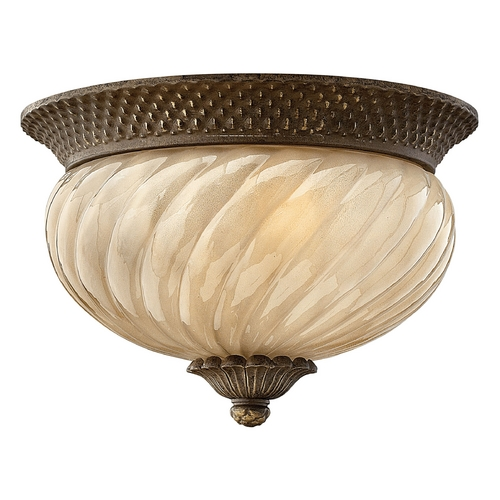 Hinkley Lighting Close To Ceiling Light with Amber Glass in Pearl Bronze Finish 2128PZ-GU24