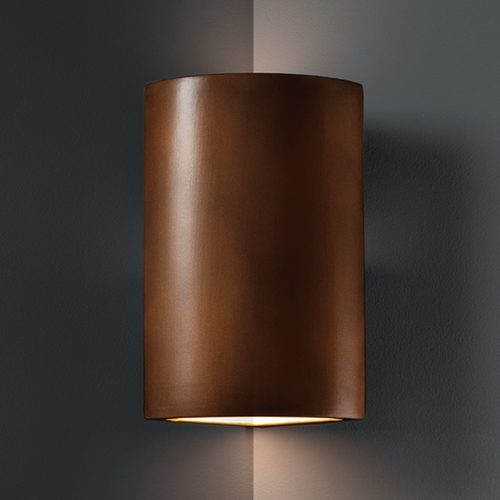 Justice Design Group Cylinder Corner Sconce Wall Light in Antique Copper Finish CER-1885-ANTC