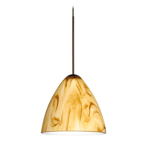 Besa Lighting Besa Lighting Mia Bronze Mini-Pendant Light with Bell Shade 1XT-1779HV-BR