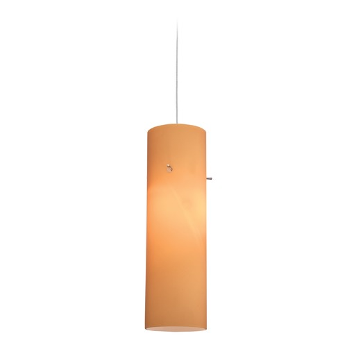 Access Lighting Access Lighting Tungsten Brushed Steel LED Mini-Pendant Light with Cylindrical Shade 72932LED-BS/AMB