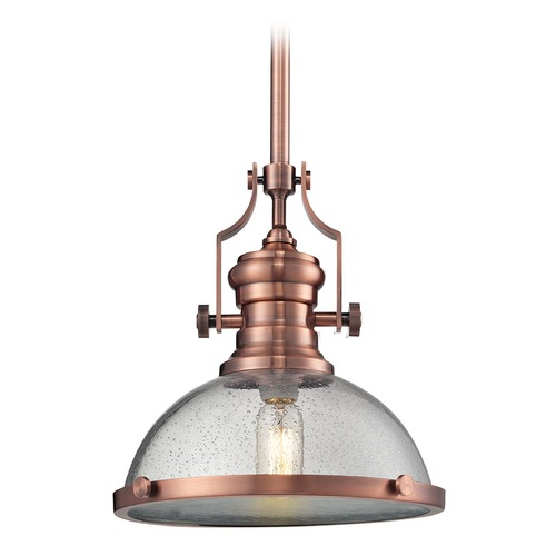 Elk Lighting Chadwick Copper Pendant Light With Bowl Dome Shade