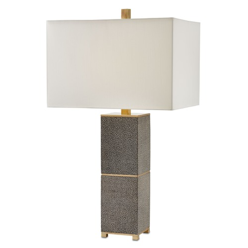 Currey and Company Lighting Currey and Company Beauchamp Grey/brushed Brass Table Lamp with Rectangle Shade 6000-0040