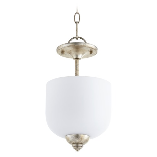 Quorum Lighting Quorum Lighting Richmond Aged Silver Leaf Pendant Light with Bowl / Dome Shade 2811-8-60