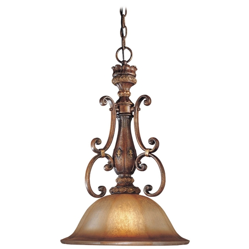 Minka Lavery Pendant Light with Brown Glass in Illuminati Bronze Finish 1349-177