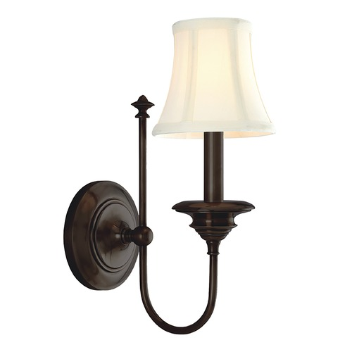 Hudson Valley Lighting Sconce Wall Light with White Shade in Old Bronze Finish 8711-OB