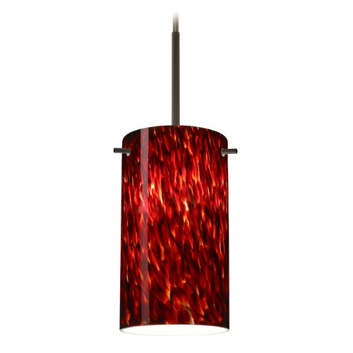 Besa Lighting Besa Lighting Stilo Bronze Mini-Pendant Light with Cylindrical Shade 1BT-440441-BR