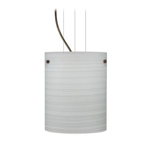 Besa Lighting Modern Pendant Light with Grey Glass in Bronze Finish 1KG-4006KR-BR