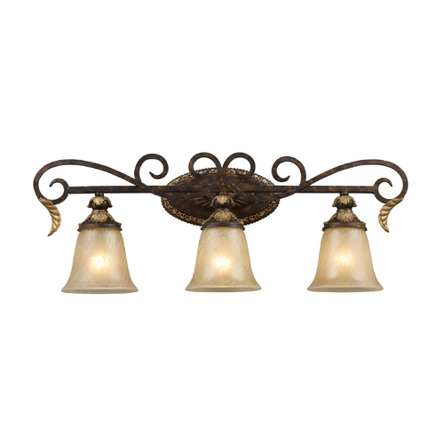 Elk Lighting Regency 3 Light Vanity In Burnt Bronze And Gold Leaf 2152/3