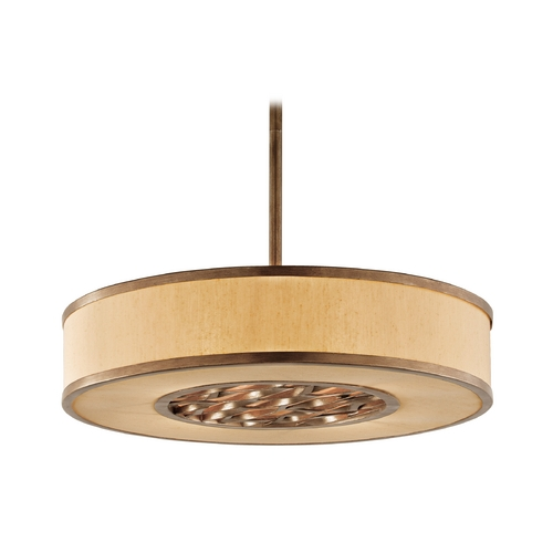Troy Lighting Drum Pendant Light with Beige / Cream Shade in Bronze Leaf Finish F3157