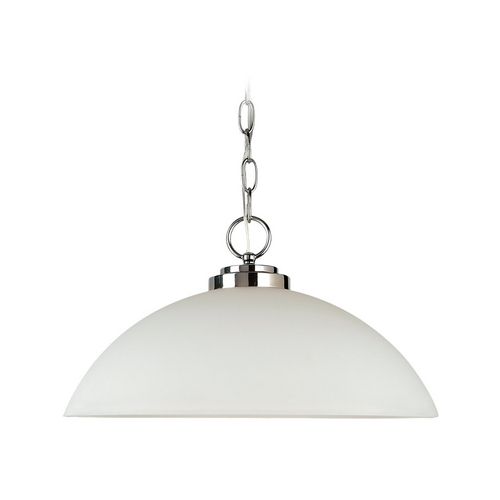 Sea Gull Lighting Modern Pendant Light with White Glass in Chrome Finish 65160-05