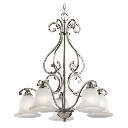 Kichler Lighting Kichler Chandelier with White Glass in Brushed Nickel Finish 43225NI