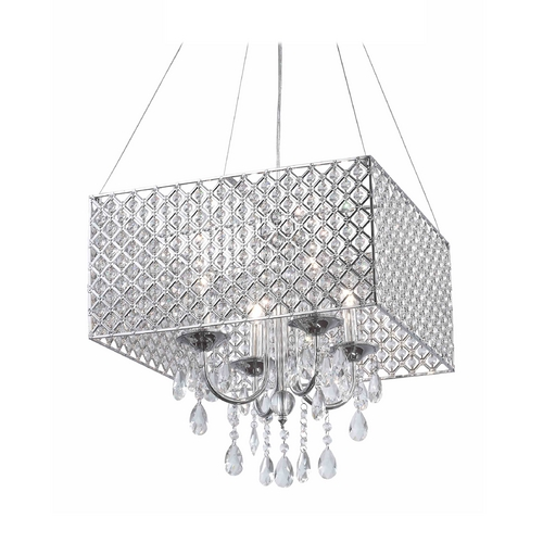 Ashford Classics Lighting Square Drum Shade Crystal Chandelier Pendant Light 2236