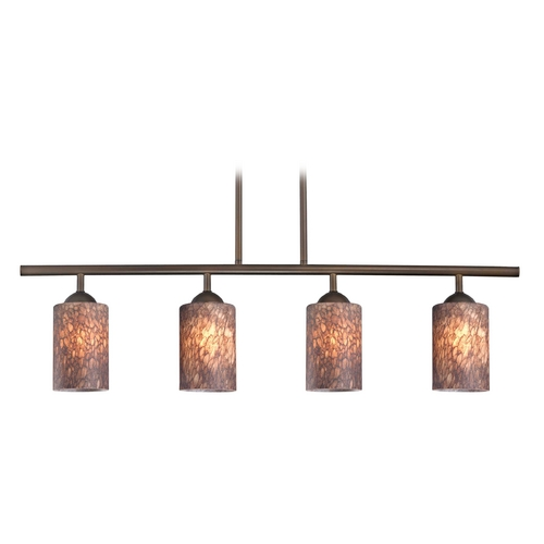 Design Classics Lighting Modern Island Light with Brown Glass in Neuvelle Bronze Finish 718-220 GL1016C