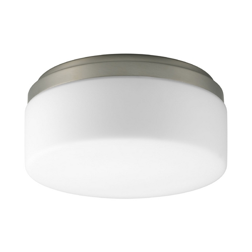 Progress Lighting Progress Flushmount Light with White in Brushed Nickel Finish P3910-09