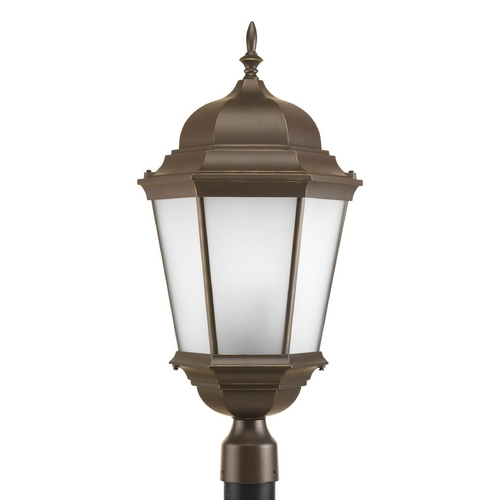 Progress Lighting Post Light with White Glass in Antique Bronze Finish P5483-20