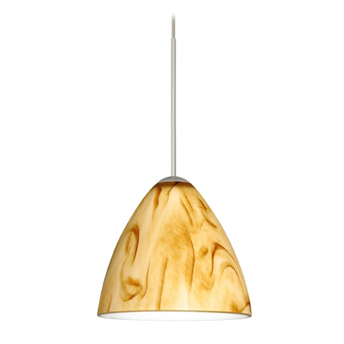 Besa Lighting Besa Lighting Mia Satin Nickel Mini-Pendant Light with Bell Shade 1XT-1779HV-SN