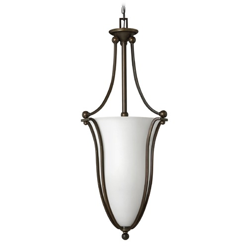 Hinkley Lighting Hinkley Lighting Bolla Olde Bronze Pendant Light with Urn Shade 4665OB-OPAL