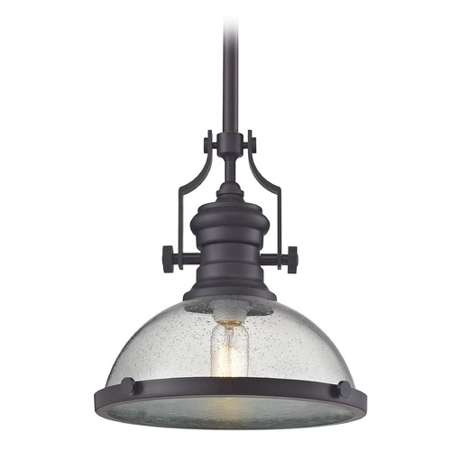 Elk Lighting Chadwick Oil Rubbed Bronze Pendant Light With Bowl Dome Shade