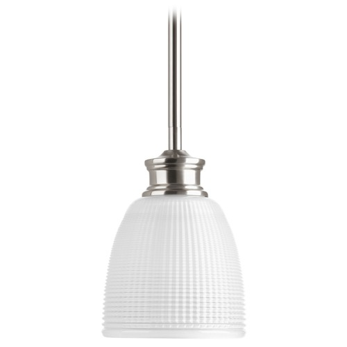 Progress Lighting Progress Lighting Lucky Brushed Nickel Mini-Pendant Light with Bowl / Dome Shade P5088-09