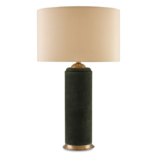 Currey and Company Lighting Currey and Company Greencove Dark Green/antique Brass Table Lamp with Bowl / Dome Shade 6000-0041