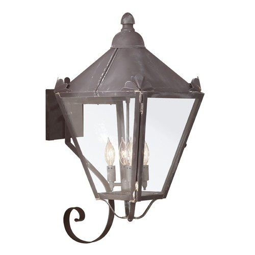 Troy Lighting Outdoor Wall Light with Clear Glass in Charred Iron Finish B8946CI