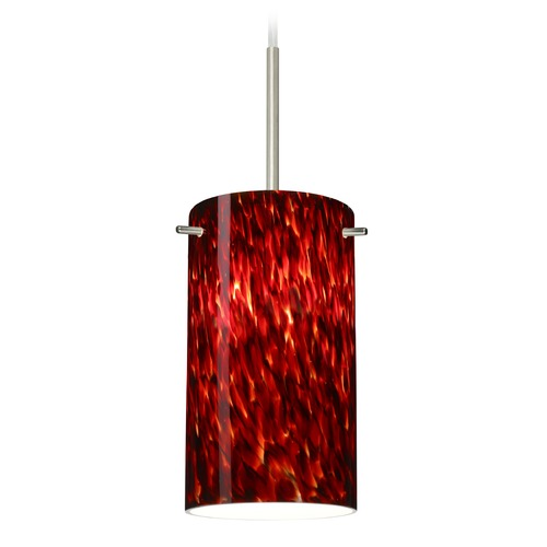 Besa Lighting Besa Lighting Stilo Satin Nickel Mini-Pendant Light with Cylindrical Shade 1BT-440441-SN