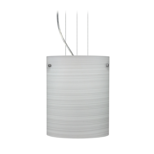Besa Lighting Modern Pendant Light with Grey Glass in Satin Nickel Finish 1KG-4006KR-SN