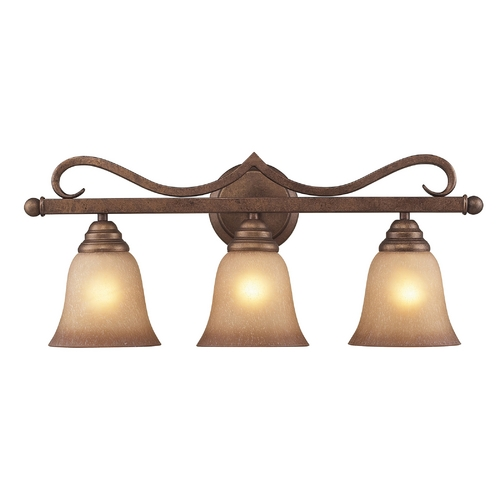 Elk Lighting Bathroom Light with Amber Glass in Mocha Finish 9322/3