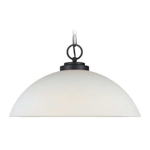 Sea Gull Lighting Modern Pendant Light with White Glass in Blacksmith Finish 65160-839