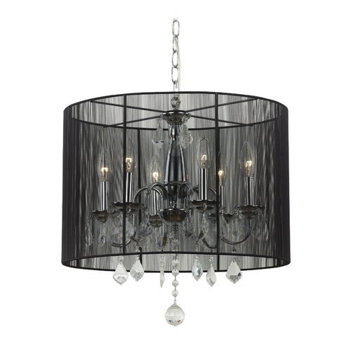 Ashford Classics Lighting Crystal Chandelier Pendant Light with Black Drum Shade 2237 BK