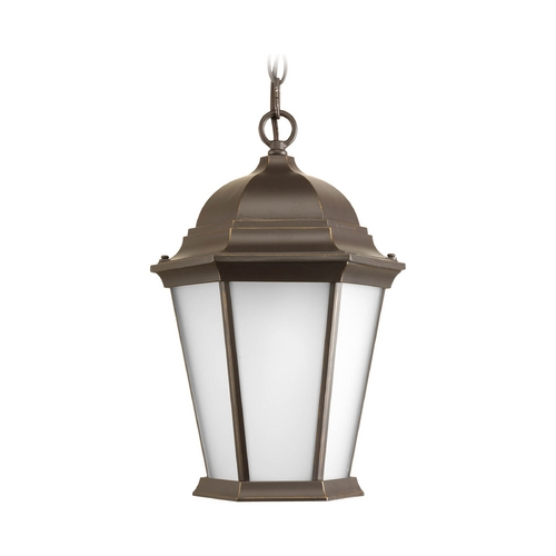 Progress Lighting Outdoor Hanging Light with White Glass in Antique Bronze Finish P5582-20