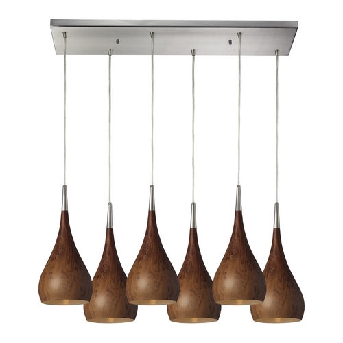 Elk Lighting Modern Multi-Light Pendant Light with Wood Shades and 6-Lights 31341/6RC-BW
