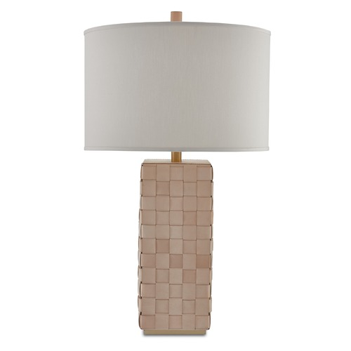 Currey and Company Lighting Currey and Company Bertrand Natural/brushed Brass Table Lamp with Drum Shade 6000-0042