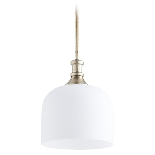 Quorum Lighting Quorum Lighting Richmond Aged Silver Leaf Mini-Pendant Light with Bowl / Dome Shade 3911-60