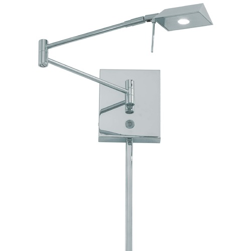 George Kovacs Lighting Modern LED Swing Arm Lamp with Silver Shade in Chrome Finish P4318-077