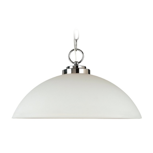 Sea Gull Lighting Modern Pendant Light with White Glass in Chrome Finish 65160BLE-05