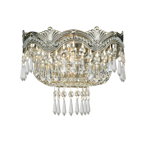 Crystorama Lighting Crystal Sconce Wall Light in Historic Brass Finish 1480-HB-CL-MWP