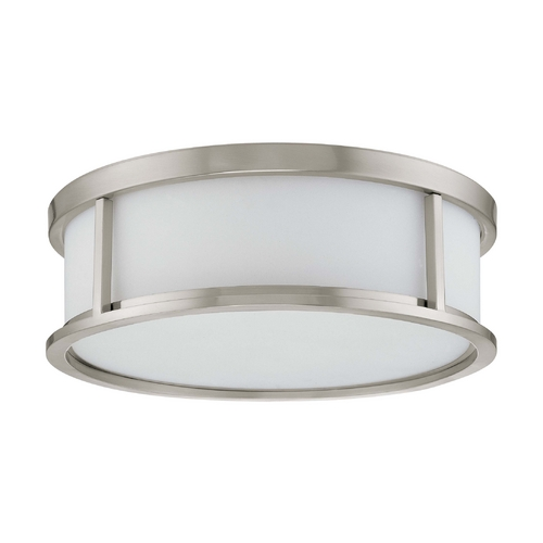 Nuvo Lighting Flushmount Light with White Glass in Brushed Nickel Finish 60/2862