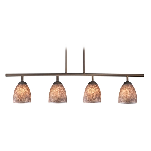 Design Classics Lighting Modern Island Light with Brown Glass in Neuvelle Bronze Finish 718-220 GL1016MB
