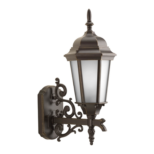 Progress Lighting Outdoor Wall Light with White Glass in Antique Bronze Finish P5681-20
