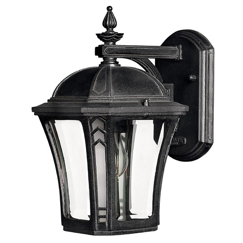 Hinkley Lighting Outdoor Wall Light with Clear Glass in Museum Black Finish 1336MB