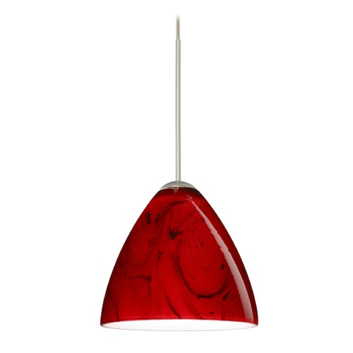 Besa Lighting Besa Lighting Mia Satin Nickel Mini-Pendant Light with Bell Shade 1XT-1779MA-SN