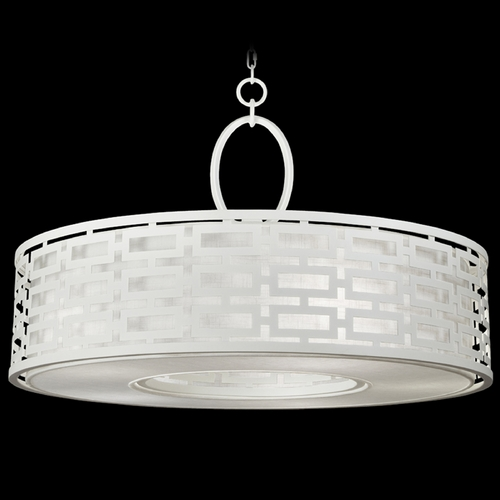 Fine Art Lamps Fine Art Lamps Black + White Story White Satin Lacquer Pendant Light with Drum Shade 787640-5GU