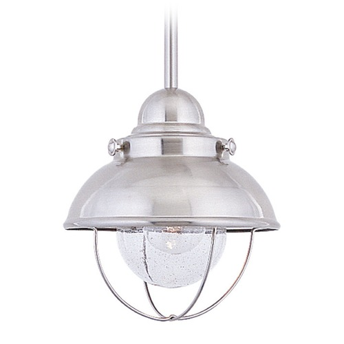 Sea Gull Lighting Seeded LED Outdoor Hanging Light Brushed Stainless Sebring by Sea Gull Lighting 615091S-98