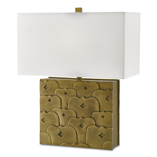 Currey and Company Lighting Currey and Company Federico Antique Brass Table Lamp with Rectangle Shade 6000-0043
