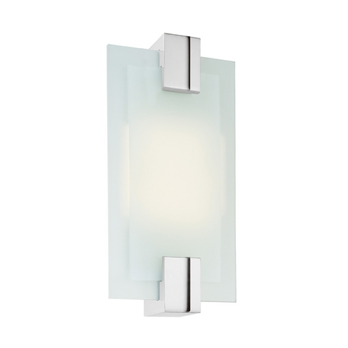 Sonneman Lighting Modern Sconce Wall Light with White Glass in Polished Chrome Finish 3681.01