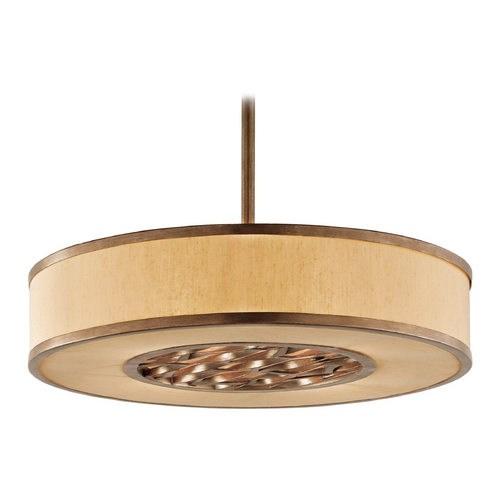 Troy Lighting Drum Pendant Light with Beige / Cream Shade in Bronze Leaf Finish FF3157