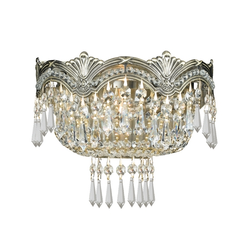 Crystorama Lighting Crystal Sconce Wall Light in Historic Brass Finish 1480-HB-CL-S