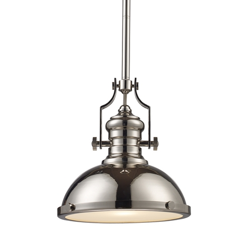 Elk Lighting 13-Inch Polished Nickel Vintage Pendant Light 66114-1