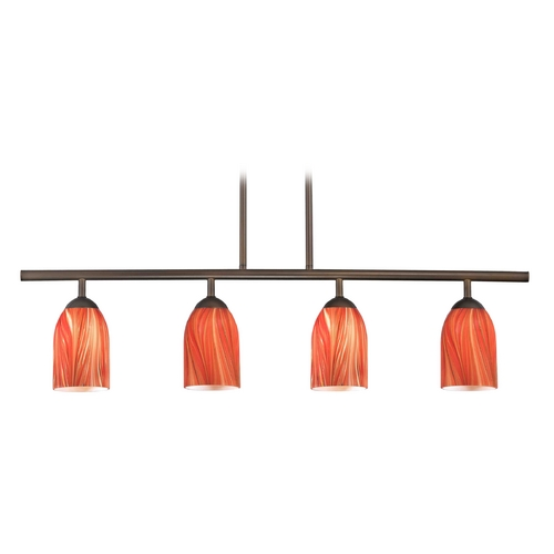 Design Classics Lighting Modern Island Light with Red Glass in Neuvelle Bronze Finish 718-220 GL1017D